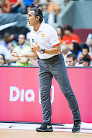 Spain's basketball coach Sergio Scariolo during the first match of the preparation for the Rio Olympic Game at Coliseum Burgos. July 12, 2016. (ALTERPHOTOS/BorjaB.Hojas)