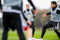 Tuesday 19 April 2016<br /> Pictured: Gylfi Sigurdsson of Swansea City   in action during training.<br /> Re: Swansea City Training Session ahead of the away game against Leicester City FC