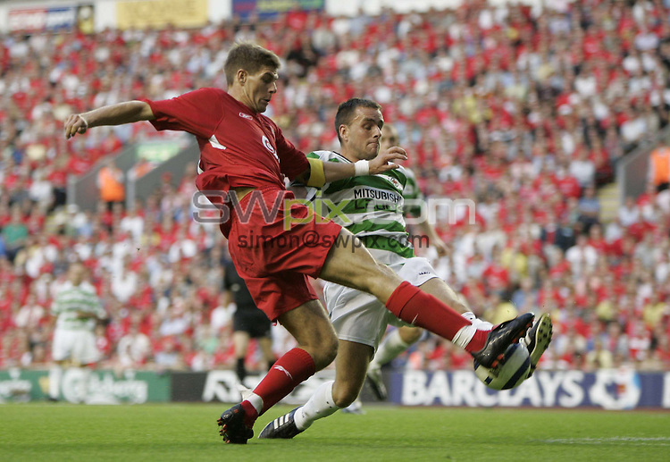 Pix by BEN DUFFY/SWpix.com - European Champions League football 1st round 1st leg, Liverpool v Total Network Solutions...13/07/05..Picture Copyright >> Simon Wilkinson >> 07811267706..Liverpool's Steven Gerrard is blocked on goal by TNS' Steven Beck