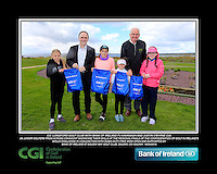 Co. Longford Girls with PJ Kavanagh from Bank of Ireland and Justin O'Byrne from CGI.<br /> Junior golfers from across connacht practicing their skills at the regional finals of the Dubai Duty Free Irish Open Skills Challenge supported by Bank of Ireland at Galway Bay golf club, Galway, Co Galway. 2/04/2016.<br /> Picture: Golffile | Fran Caffrey<br /> <br /> <br /> All photo usage must carry mandatory copyright credit (© Golffile | Fran Caffrey)
