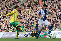 Blackburn Rovers' Derrick Williams gets away from Norwich City's Josh Murphy<br /> <br /> Photographer David Shipman/CameraSport<br /> <br /> The EFL Sky Bet Championship - Norwich City v Blackburn Rovers - Saturday 11th March 2017 - Carrow Road - Norwich<br /> <br /> World Copyright &copy; 2017 CameraSport. All rights reserved. 43 Linden Ave. Countesthorpe. Leicester. England. LE8 5PG - Tel: +44 (0) 116 277 4147 - admin@camerasport.com - www.camerasport.com