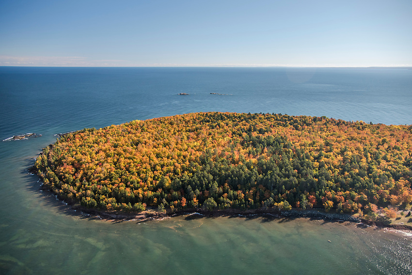 Aerial photography of Presque Isle Park and Lake Superior in Marquette, Michigan with fall color.