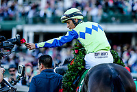 LOUISVILLE, KY - MAY 06: John Velazquez celebrates after winning the Kentucky Derby aboard Always Dreaming #5 on Kentucky Derby Day at Churchill Downs on May 6, 2017 in Louisville, Kentucky. (Photo by Candice Chavez/Eclipse Sportswire/Getty Images)
