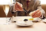 USA, California, Healdsburg, caviar being served at Cyrus Restaurant in Alexander Valley