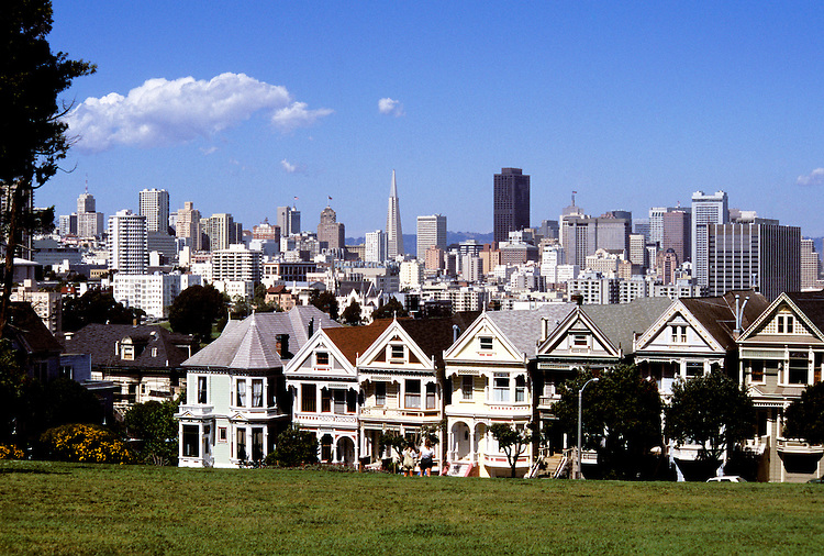 California: San Francisco.  Victorian Houses at Alamo Square.  Photo #: casanf105..Photo copyright Lee Foster, 510/549-2202, lee@fostertravel.com, www.fostertravel.com