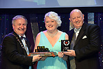 Caroline O'Connell, New Ross Musical Society, County Wexford winner of the Best Comedienne / Sullivan Section for her role as 'Lina Lamont' in 'Singing in the Rainl' receiving the trophy from on  left, Colm Moules, President, AIMS and Seamus Power, Vice-President at the Association of Irish Musical Societies annual awards in the INEC, KIllarney at the weekend.<br /> Photo: Don MacMonagle -macmonagle.com<br /> <br /> <br /> <br /> repro free photo from AIMS<br /> Further Information:<br /> Kate Furlong AIMS PRO kate.furlong84@gmail.com