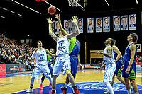 GRONINGEN - Basketbal, Donar - ZZ Leiden, Martiniplza, Halve finale NBB beker, seizoen 2018-2019, 13-02-2019, Donar speler Thomas Koenes met Leiden speler Kenneth Simms