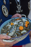 France, Pas-de-Calais (62), Berck-sur-Mer: Confrérie du Hareng Côtier  Filets  de harengs marinés et salicorne  , // France, Pas de Calais, Berck sur Mer:  Brotherhood of Coastal Herring, Marinated herring fillets and samphire