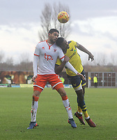 Blackpool's Kelvin Mellor battles with Oxford United's Jonathan Obika<br /> <br /> Photographer Mick Walker/CameraSport<br /> <br /> The EFL Sky Bet League One - Rochdale v Blackpool - Monday 1st January 2018 - Spotland Stadium - Rochdale<br /> <br /> World Copyright &copy; 2018 CameraSport. All rights reserved. 43 Linden Ave. Countesthorpe. Leicester. England. LE8 5PG - Tel: +44 (0) 116 277 4147 - admin@camerasport.com - www.camerasport.com