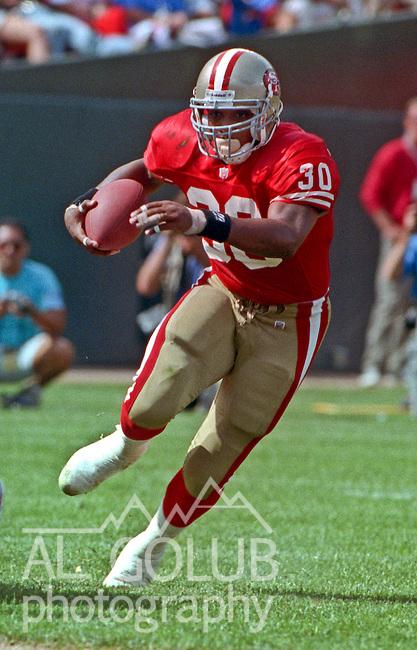 San Francisco 49ers vs. Buffalo Bills at Candlestick Park Sunday, September 12, 1992.  Bills beat 49ers 34-31.  San Francisco 49ers running back Keith Henderson (30). .