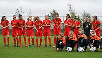 20191101 - Tubize: Belgian team with Estee Cattoor (11)   Marine Rosala (10)   Rania Boutiebi (9)   Dounia F Touh (8)   Alixe Bosteels (7)   Amy Littel (6)   Enora Matte (4)   Loredana Humartus (3)   Lea Detail (2)   Sam Vanhees (1)   Melissa Tom(5)  pictured during the international friendly match between Red Flames U16 (Belgium) and Norway U16 on 1 November 2019 at Belgian Football Centre, Tubize. PHOTO:  SPORTPIX.BE | SEVIL OKTEM