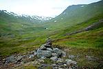 June 2016 - Siglufjordur, North Iceland -  Rock cairns mark a trail near Siglufjordur, North Iceland.