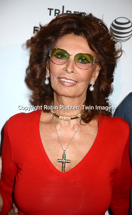 """Sophia Loren attends the """"Human Voice""""  screening at the 2014 Tribeca Film Festival on April 21, 2014 at the AMC Loews Village 7 Theatre in New York City, USA. The short movie was directed by her son Edoardo Ponti."""