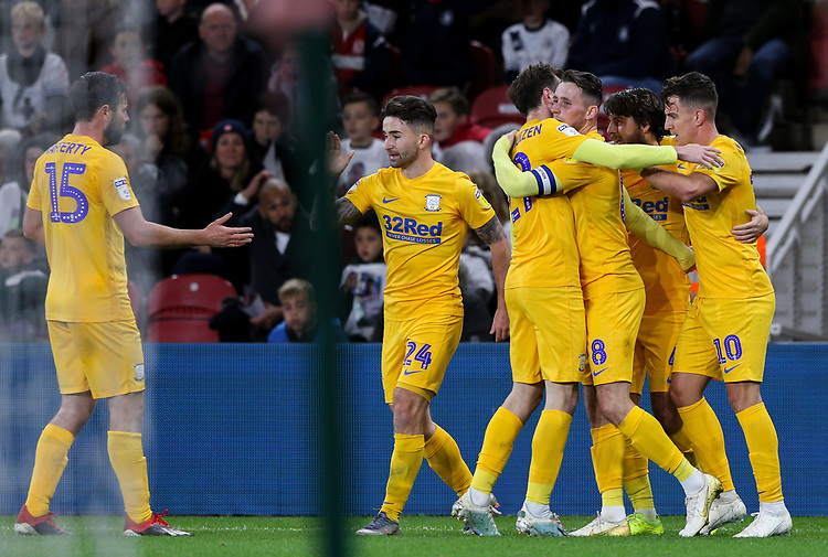 Preston North End's Josh Harrop celebrates scoring the opening goal with teammates<br /> <br /> Photographer Alex Dodd/CameraSport<br /> <br /> The EFL Sky Bet Championship - Middlesbrough v Preston North End - Tuesday 1st October 2019  - Riverside Stadium - Middlesbrough<br /> <br /> World Copyright © 2019 CameraSport. All rights reserved. 43 Linden Ave. Countesthorpe. Leicester. England. LE8 5PG - Tel: +44 (0) 116 277 4147 - admin@camerasport.com - www.camerasport.com