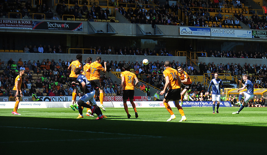 Preston North End's Paul Gallagher hits a free kick over the bar<br /> <br /> Photographer Kevin Barnes/CameraSport<br /> <br /> The EFL Sky Bet Championship - Wolverhampton Wanderers v Preston North End - Sunday 7th May 2017 - Molineux Stadium <br /> <br /> World Copyright &copy; 2017 CameraSport. All rights reserved. 43 Linden Ave. Countesthorpe. Leicester. England. LE8 5PG - Tel: +44 (0) 116 277 4147 - admin@camerasport.com - www.camerasport.com