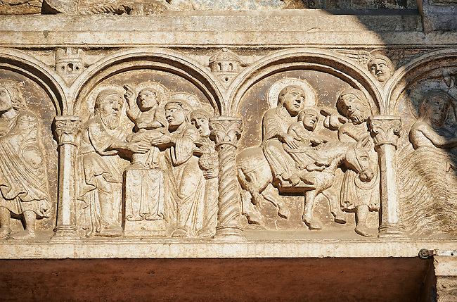 Scenes from the life of Christ - The Flight to Egypt - the work of the sculptor Nicholaus, on the main portal  of the 12th century Romanesque Ferrara Duomo, Italy