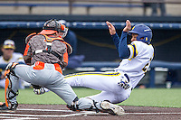 Michigan Wolverines outfielder Johnny Slater (25) is tagged out by Bowling Green Falcons catcher Justin Mott (7) on April 6, 2016 at Ray Fisher Stadium in Ann Arbor, Michigan. Michigan defeated Bowling Green 5-0. (Andrew Woolley/Four Seam Images)