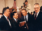 Senators go over Iran Contra affair Photojournalist Ron Bennett in background, Iran Contra affair was a political scandal in the United States during the Reagan administration with sale of arms to Iran,