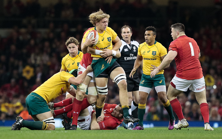 Australia's Ned Hanigan<br /> <br /> Photographer Simon King/CameraSport<br /> <br /> International Rugby Union - 2017 Under Armour Series Autumn Internationals - Wales v Australia - Saturday 11th November 2017 - Principality Stadium - Cardiff<br /> <br /> World Copyright &copy; 2017 CameraSport. All rights reserved. 43 Linden Ave. Countesthorpe. Leicester. England. LE8 5PG - Tel: +44 (0) 116 277 4147 - admin@camerasport.com - www.camerasport.com