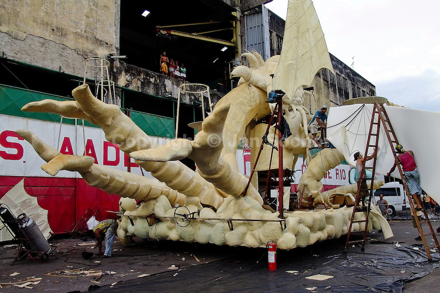 An unfinished allegorical float seen during the construction process in front of the Carnival workshop in Rio de Janeiro, Brazil, 23 February 2004.