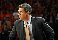 Virginia head coach Tony Bennett reacts to a call during the game Tuesday in Charlottesville, VA. Virginia defeated Virginia Tech73-55.