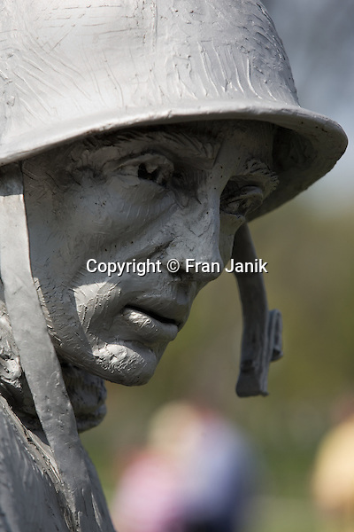 A soldiers face is captured in this close-up of sculpture depicting the foot soldiers of the Korean confilct. The sculpture is part of the Korean war memorial in the capitol city of  Washington D.C. in the United States.