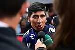 Nairo Quintana (COL) Movistar Team at sign on before Stage 6 of the Criterium du Dauphine 2019, running 229km from Saint-Vulbas - Plaine de l'Ain to Saint-Michel-de-Maurienne, France. 14th June 2019.<br /> Picture: ASO/Alex Broadway | Cyclefile<br /> All photos usage must carry mandatory copyright credit (© Cyclefile | ASO/Alex Broadway)