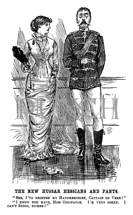 "The New Hussar Hessians and Pants. ""See, I've dropped my handkerchief, Captain de Vere!"" ""I know you have, Miss Constance, I'm very sorry, I can't stoop either!"""