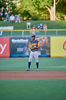 Jorge Mateo (14) of the Las Vegas Aviators during the game against the Salt Lake Bees at Smith's Ballpark on July 20, 2019 in Salt Lake City, Utah. The Aviators defeated the Bees 8-5. (Stephen Smith/Four Seam Images)