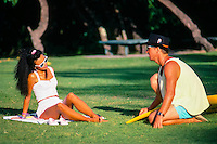 Gary 'Kong' Elkerton (AUS), and his former French wife Pascale at Wiamea Bay on the North Shore of Oahu, Hawaii.   Photo: joliphotos.com