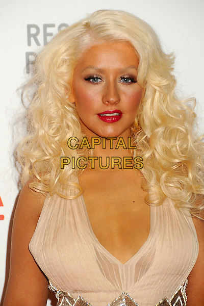 "CHRISTINA AGUILERA .at LACMA's ""The Unmasking"" The Lynda & Stewart Resnick Exhibition Pavilion Opening Gala at The Los Angeles County Museum of Art in Los Angeles, California, USA, September 25th 2010..portrait headshot make-up beauty tanned halterneck silk chiffon    .CAP/ADM/BP.©Byron Purvis/AdMedia/Capital Pictures."