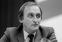 Sean Barrett, TD, Fine Gael, Rep of Ireland, Chief Whip &amp; Minister of State, photographed October 1982 on platform at Ard Fheis. 1982100336SB1<br /> <br /> Copyright Image from Victor Patterson, 54 Dorchester Park, <br /> Belfast, UK, BT9 6RJ<br /> <br /> t1: +44 28 9066 1296 (from Rep of Ireland 048 9066 1296)<br /> t2: +44 28 9002 2446 (from Rep of Ireland 048 9002 2446)<br /> m: +44 7802 353836<br /> <br /> victorpatterson@me.com<br /> www.victorpatterson.com<br /> <br /> Please see my Terms and Conditions of Use at VICTORPATTERSON.COM. It is IMPORTANT that you familiarise yourself with them.<br /> <br /> Images used on the Internet must be visibly watermarked i.e. &copy;VICTORPATTERSON.COM within the body of the image and copyright metadata must not be deleted. Images used on the Internet have a size restriction of 4kbs and are chargeable at the then current NUJ rates.<br /> <br /> This image is only available for the use of the download recipient i.e. television station, newspaper, magazine, book publisher, etc, and must not be passed on to any third party. It is also downloaded on condition that each and every usage is notified within 7 days to victorpatterson@me.com<br /> <br /> The right of Victor Patterson to be identified as the author is asserted in accordance with The Copyright Designs And Patents Act (1988).