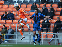 Blackpool's Nathan Delfouneso beats Rochdale's Joe Rafferty to the ball<br /> <br /> Photographer Stephen White/CameraSport<br /> <br /> The EFL Sky Bet League One - Blackpool v Rochdale - Saturday 6th October 2018 - Bloomfield Road - Blackpool<br /> <br /> World Copyright &copy; 2018 CameraSport. All rights reserved. 43 Linden Ave. Countesthorpe. Leicester. England. LE8 5PG - Tel: +44 (0) 116 277 4147 - admin@camerasport.com - www.camerasport.com