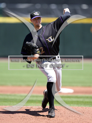 Louisville Bats Pitcher Matt Maloney delivers a pitch during a game vs. the Rochester Red Wings Sunday, May 16, 2010 at Frontier Field in Rochester, New York.   Rochester defeated Louisville by the score of 4-3.  Photo By Mike Janes/Four Seam Images