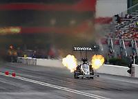 Jun 20, 2015; Bristol, TN, USA; NHRA top fuel driver Shawn Langdon during qualifying for the Thunder Valley Nationals at Bristol Dragway. Mandatory Credit: Mark J. Rebilas-