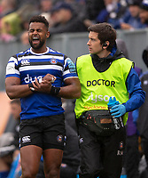 Bath Rugby's Aled Brew leaves the field with a suspected broken wrist<br /> <br /> Photographer Bob Bradford/CameraSport<br /> <br /> Gallagher Premiership - Bath Rugby v Northampton Saints - Saturday 22 September 2018 - The Recreation Ground - Bath<br /> <br /> World Copyright &copy; 2018 CameraSport. All rights reserved. 43 Linden Ave. Countesthorpe. Leicester. England. LE8 5PG - Tel: +44 (0) 116 277 4147 - admin@camerasport.com - www.camerasport.com