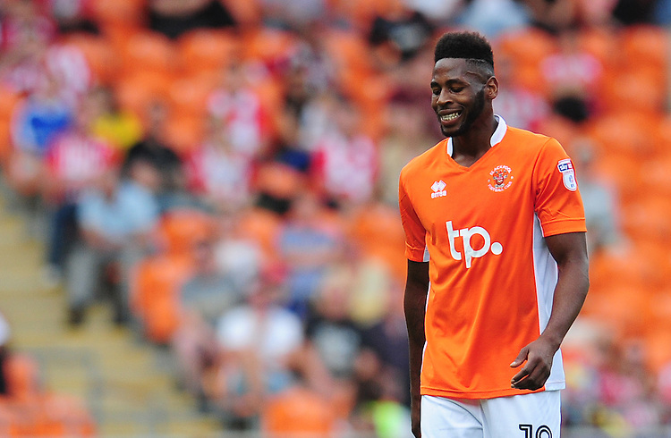 Blackpool's Jamille Matt<br /> <br /> Photographer Kevin Barnes/CameraSport<br /> <br /> Football - The EFL Sky Bet League Two - Blackpool v Exeter City - Saturday 6th August 2016 - Bloomfield Road - Blackpool<br /> <br /> World Copyright © 2016 CameraSport. All rights reserved. 43 Linden Ave. Countesthorpe. Leicester. England. LE8 5PG - Tel: +44 (0) 116 277 4147 - admin@camerasport.com - www.camerasport.com
