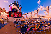 The new Disney Dream cruise ship, Disney Cruise Line, sailing between Florida and the Bahamas