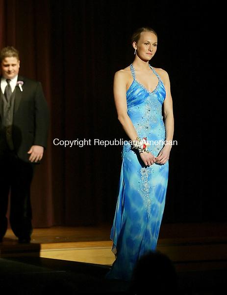 THOMASTON, CT, 03/21/07- 032107BZ08- Jill Sabol and her escort Joe Aniki during the THS Prom Fashion Show at Thomaston High School Wednesday night.<br /> Jamison C. Bazinet Republican-American
