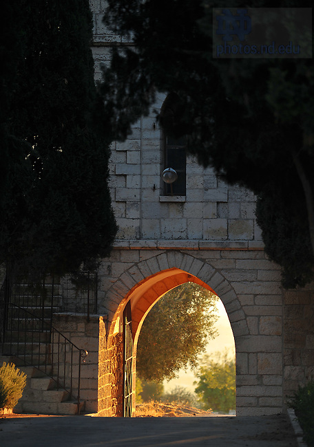 Main gate of the Tantur Ecumenical Institute..Photo by Matt Cashore/University of Notre Dame