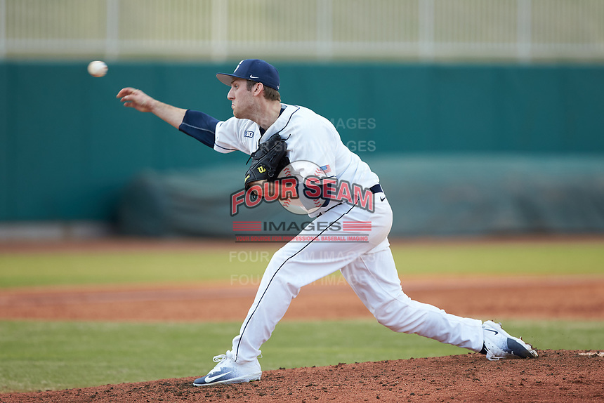 Penn State Nittany Lions starting pitcher Justin Hagenman (31) in action against the Xavier Musketeers at Coleman Field at the USA Baseball National Training Center on February 25, 2017 in Cary, North Carolina. The Musketeers defeated the Nittany Lions 7-5 in game two of a double header. (Brian Westerholt/Four Seam Images)