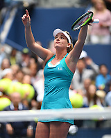 FLUSHING NY- SEPTEMBER 02: CoCo Vandeweghe reacts after winning her match against Agnieszka Radwanska on Arthur Ashe Stadium during the 2017 US Open at the USTA Billie Jean King National Tennis Center on September 2, 2017 in Flushing, Queens. Credit: mpi04/MediaPunch