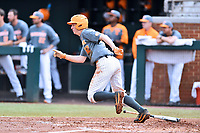 Tennessee Volunteers third baseman Wyatt Stapp (12) runs to first base during a game against the University of North Carolina Greensboro (UNCG) Spartans at Lindsey Nelson Stadium on February 24, 2018 in Knoxville, Tennessee. The Volunteers defeated Spartans 11-4. (Tony Farlow/Four Seam Images)