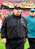 Philadelphia Eagle head coach Andy Reid leaves the field following his team's 31 - 6 loss to the Washington Redskins at FedEx Field in Landover, Maryland on Sunday, November 18, 2012. .Credit: Ron Sachs / CNP
