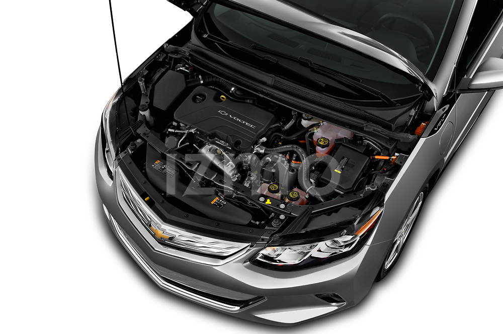 Car Stock 2016 Chevrolet Volt LT 5 Door Hatchback Engine  high angle detail view