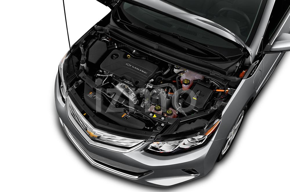 Car Stock 2018 Chevrolet Volt LT 5 Door Hatchback Engine  high angle detail view