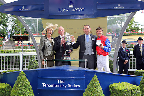 21.06.12 Ascot, Windsor, ENGLAND. Energizer with Adrie de Vries Up Wins The Tercentenary Stakes Cup Ascot Racecourse  Racing Manager Wilhelm Giedt Second Right and team manager Jens Hirschberger Second left receive their winning trophy