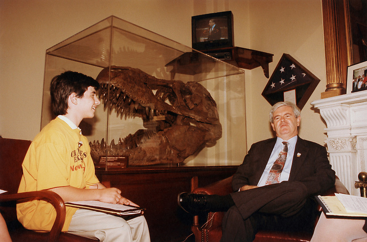 Josh Kretman and Newt Gingrich. 1986 (Photo by Maureen Keating/CQ Roll Call via Getty Images)