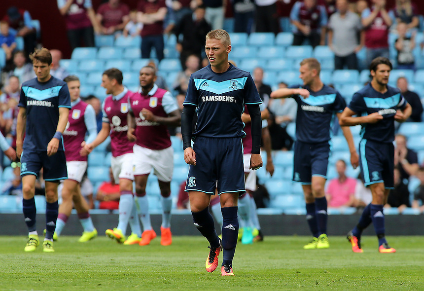 Middlesbrough&rsquo;s Viktor Fischer shows his dejection as Aston Villa go 1-0 ahead<br /> <br /> Photographer David Shipman / CameraSport<br /> <br /> Football - Pre-Season Friendly - Aston Villa v Middlesbrough - Saturday 30th July 2016 - Villa Park, Birmingham<br /> <br /> &copy; CameraSport - 43 Linden Ave. Countesthorpe. Leicester. England. LE8 5PG - Tel: +44 (0) 116 277 4147 - admin@camerasport.com - www.camerasport.com