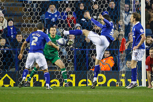 14.01.2012.  Leicester, England. Aleksandar TUNCHEV of Leicester City sees his volley saved by Luke STEELE of Barnsley during the npower Championship match between Leicester City and Barnsley at the King Power stadium.